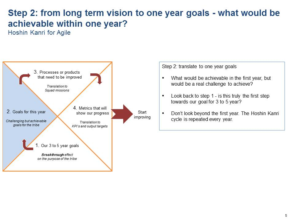 Step 2: from long term vision to one year goals - what would be achievable within one year?